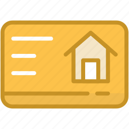 commercial card, home, property card, real estate, visiting card icon