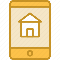 mobile, mobile phone, online property, property app, real estate icon