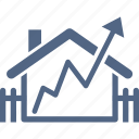 real estate, analytics, growth, house, home value icon