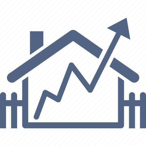 analytics, growth, home value, house, real estate icon