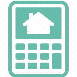 calculator, home mortgage, house, loan icon