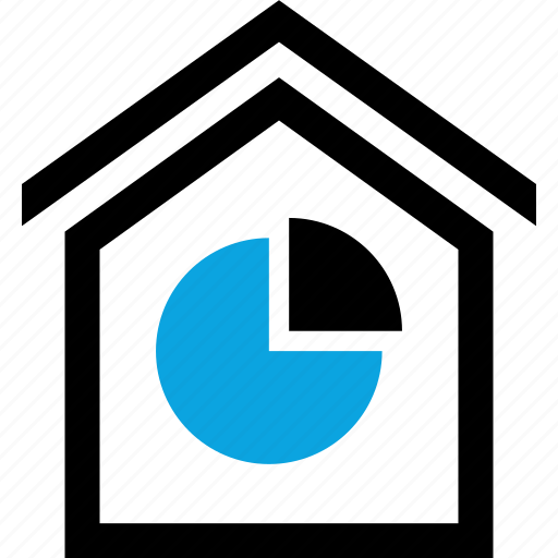 analytics, chart, graph, home, house, invest, pie icon