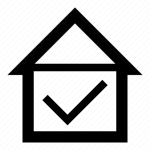 apartment, check, checked, home, house, property, success icon