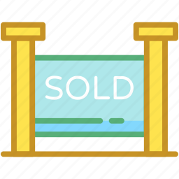 commercial sign, property sold, sold, sold advertisement, sold signboard icon