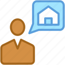 chat bubble, chatting, deal, house sign, speech bubble icon