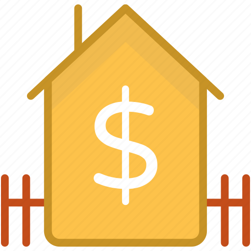 dollar, home, house for sale, property, property value icon