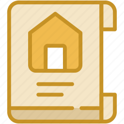 document, estate agreement, house contract, property contract, property papers icon
