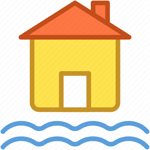 danger, disaster, flood, home, house icon