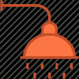 bath, body care, shower, shower head, water drops icon