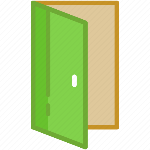 building door, door, entrance, gate, open door icon