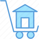 building, construction, estate, house, trolley icon