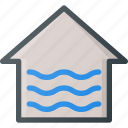 apartment, flood, home, house, real, setate icon