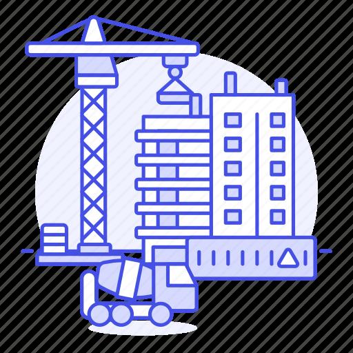 apartment, building, concrete, construction, crane, edifice, estate, real, site, truck icon