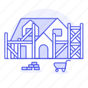 building, construction, dwelling, estate, house, materials, real, scaffold, site, wheelbarrow icon
