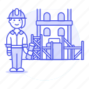 architects, construction, dwelling, estate, female, foreman, house, real, supervisor icon