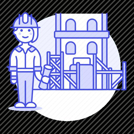 architects, construction, dwelling, estate, female, foreman, house, real, supervisor icon