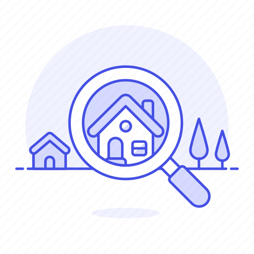 buy, construction, estate, find, house, housing, magnifier, neighbourhood, property, real, rent, search icon
