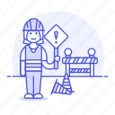barrier, builder, building, construction, estate, female, real, sign, site, traffic, worker icon
