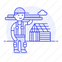 1, builder, building, construction, estate, house, male, plank, real, site, wood icon