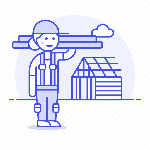 builder, building, construction, estate, female, house, plank, real, site, wood icon