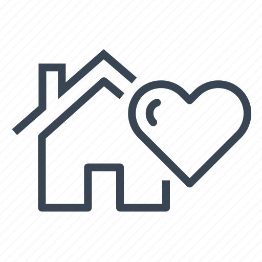 heart, home, house, love, real estate icon