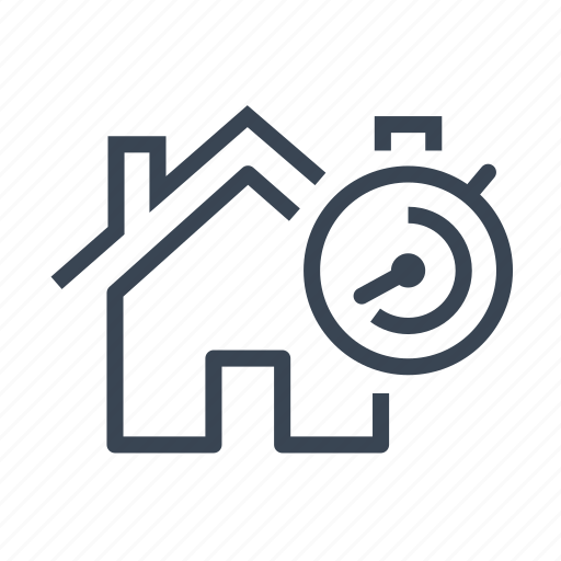 buy, home, house, real estate, sell, stopwatch icon
