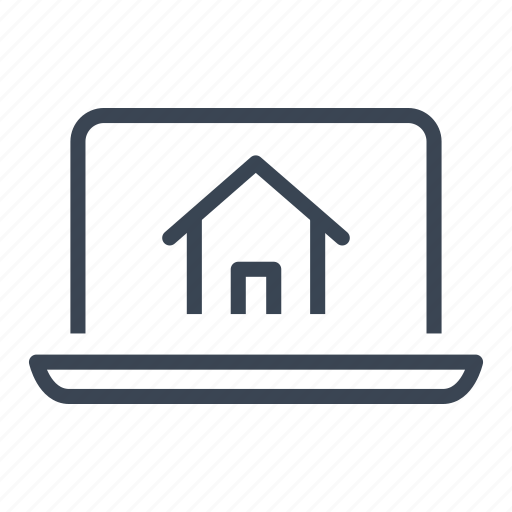computer, home, house, laptop, online, real estate, website icon