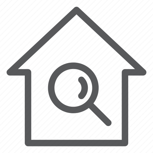 building, construction, house, real estate, search icon