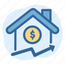 business, estate, house, price, real, up icon