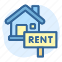 business, estate, house, real, rent, sign icon