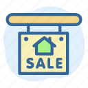 business, estate, house, real, sale, sign icon