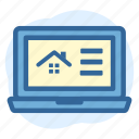 business, estate, house, laptop, online, real, spesification icon