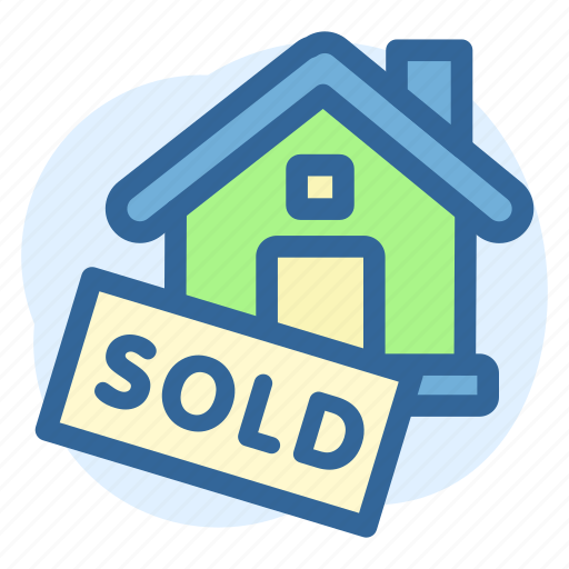 business, estate, house, property, real, sign, sold icon