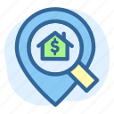 business, estate, house, location, real, searching icon