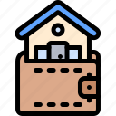 house, property, real estate, wallet icon