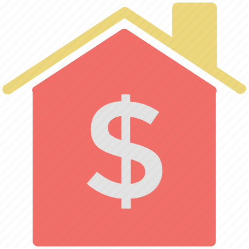 dollar sign, home, house, property, property value icon