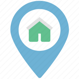 house location, location pointer, locator, map, navigational, pin icon