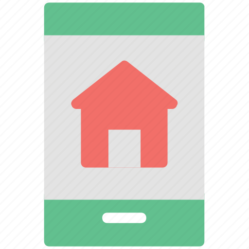 home, house, mobile screen, online searching, real estate icon