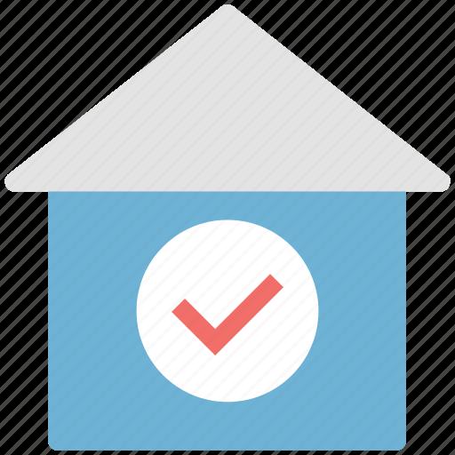 checkmark, home, hut, tick, vella icon