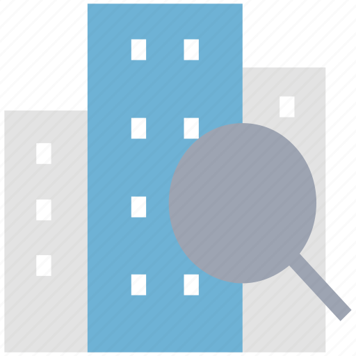 building, find, magnifier, real estate, search icon