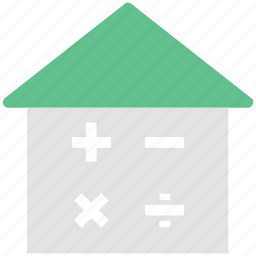 arithmetic, home, house, hut, mathematical icon
