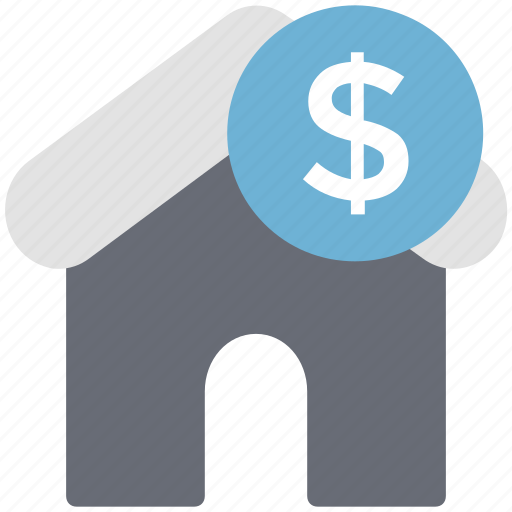 dollar, dollar sign, home, house, property, property value icon
