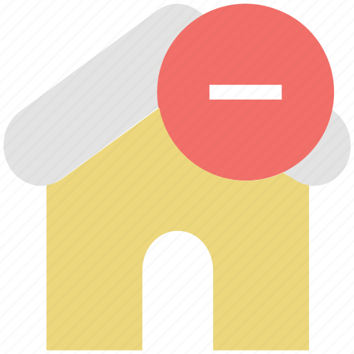home with minus, minus sign, real estate, remove icon