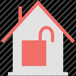 home, lock, open, real, sign, unlocked, unlocked building, unlocked house icon