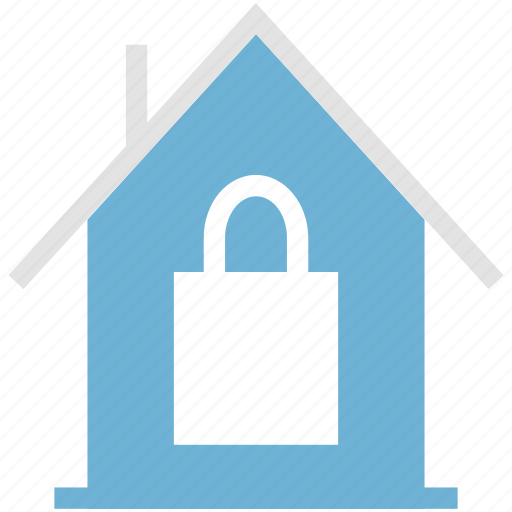 home, lock sign, locked house, real, safe, secure, unlocked building icon