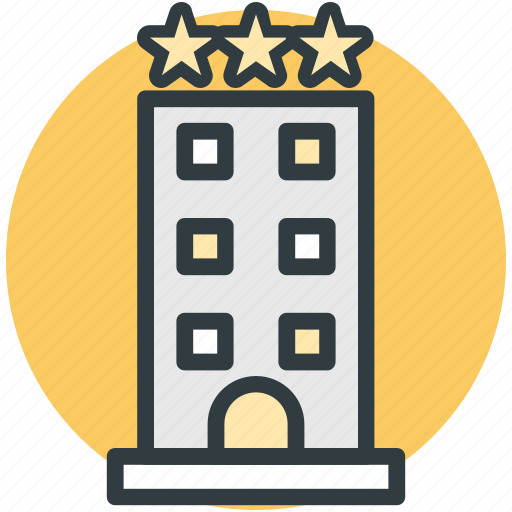 building, hotel, inn, public house, three stars icon
