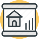 estate, graph chart, house, projection screen, property value, real estate, rental concept, rental graph icon