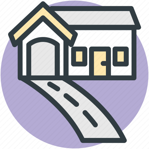 driveway, garage, house, luxury house, property icon