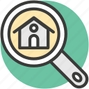 rental concept, gps, magnifying glass, house search, real estate