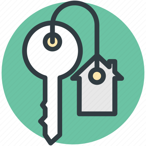 agent, house key, key, keychain, rent icon